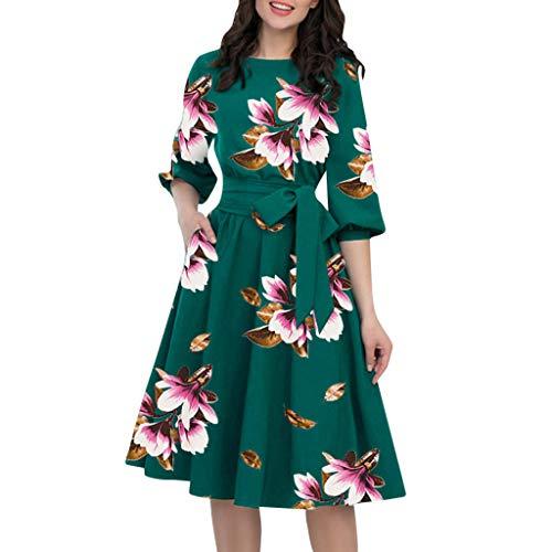 Aunimeifly A-Line Women's Elegant Flower Print Bow Tie Dress Lantern Sleeve Round Neck Skirt Green
