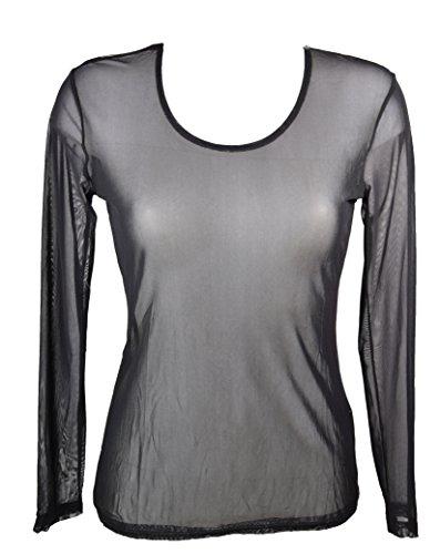 Miss Rouge: Camiseta de tul transparente negro Small