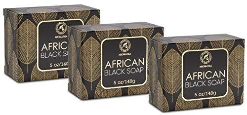 Afrikanische Schwarze Seife 3x140g - Feuchtigkeitsspendend - Pflegend - 100% Natürliche Schwarze Seife mit Sheabutter & Kokosöl - für alle Hauttypen - Körperpflege...