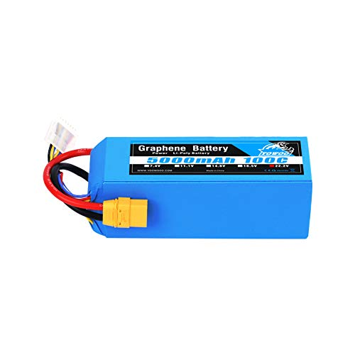 YOWOO Graphene Battery 6S 22.2V 5000mAh 100C with XT90 Connector Lipo Battery for Mikado LOGO500 Align T-REX 550 600E 700E GAUI X5 Outrage 550 Hirobo SDX Multirotors EDF Jets 600 700 Size Helicopters