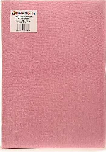 Dudu N Girlie hoeslaken voor babybed, 100% katoen, 70 x 140 cm, roze