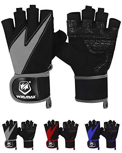 WIN.MAX Workout Gloves, Weight Lifting Gloves, Gym Gloves with Wrist Support, Full Palm Protection & Extra Grip for Powerlifting, Training, Fitness, Pull-ups, Exercise for Men Women