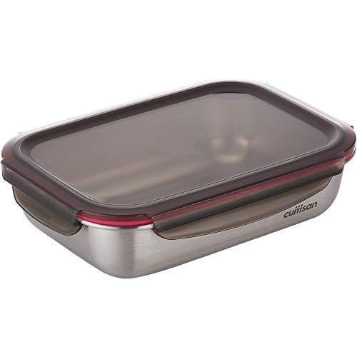CANDL Cuitisan (Flora) recipiente hermético de acero inoxidable con tapa de clip, apto para microondas + horno, rectangular, recipiente para alimentos, EC7-SS09, (25,9cm x 19,5cm x 7,1cm / 1900ml)