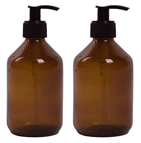 Lifestyle Lover zeepdispenser van bruine las, barnsteenkleuren voor zeep spoelbak shampoo lotions 300 ml en 500 ml bruin glas (uni) 2 x 300 ml.