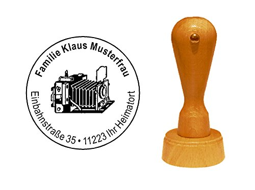 Stempel historische KAMERA - mit persönlicher Adresse - Ø 40 mm
