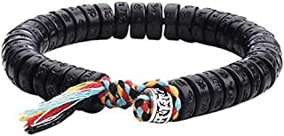 SODIAL Tibetan Buddhist Hand Braided Cotton Thread Lucky Knots Bracelet Natural Coconut Shell Beads Carved Bangle