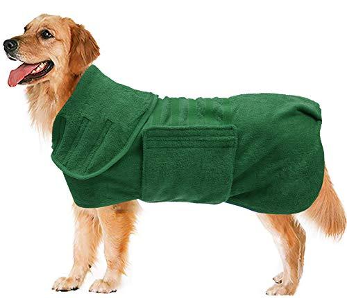 Hundemantel zum Trocknen, schnell trocknend, aus Mikrofaser, sehr saugfähig, Größe XL, Grün