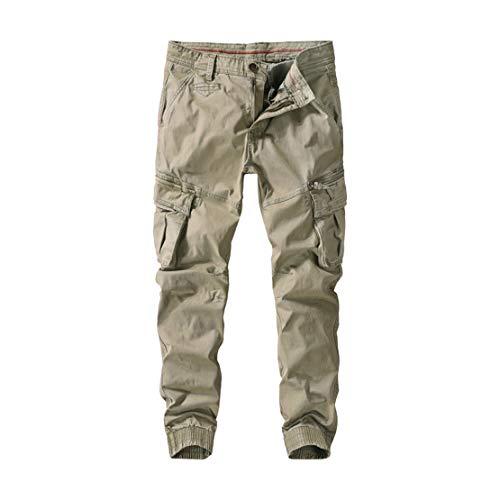 utcoco Mens Casual Slim-Fit Washed Cotton Pockets Stretchy Twill Military Jogger Pant (38, Khaki)