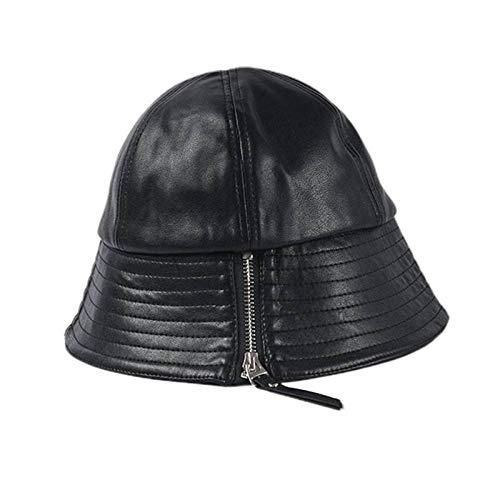 GLGSHOULIAN Chapeau De Pêcheur Femme,Tempérament Sauvage Artificielle Noir Zipper Décoration Décoration Bucket Cap Solid Color Lady Leisure Adjsutable Pliable Hip Hop Dome Fisherman Hat
