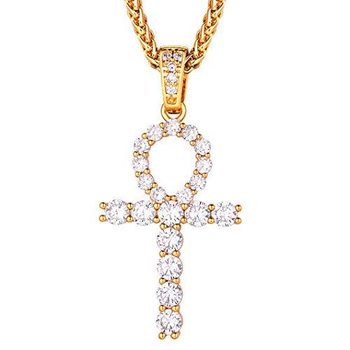Richsteel Cruz Egipcia Ankh Oro Real baño con Diamantes Artificiales Cruz Divina para Mujeres Hombres Regalo Familia Amigo Hermanos Navidad