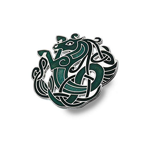 Sea Gems Celta Broche Caballo Bañado en Plata Verde Empaque de Regalo