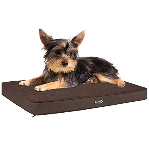 Senmipy Orthopedic Memory Foam Dog Bed for Small, Medium, Large Dogs & Cats, Plush Pet Bed Mattress with Removable Washable Cover (Medium, Brown)