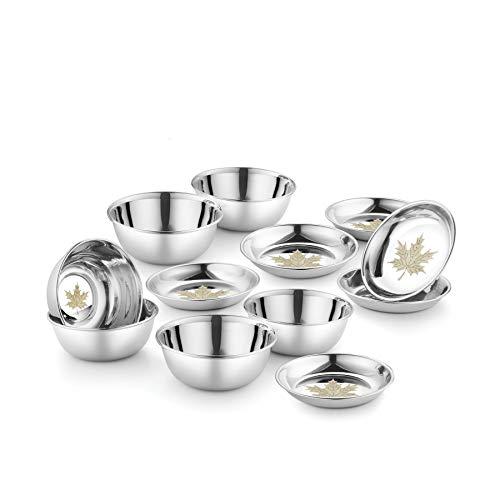 Jensons Stainless Steel Maple 6 PCS Curry Bowl & 6 Pcs Dessert Dish Heavy Gauge with Permanent Laser Design