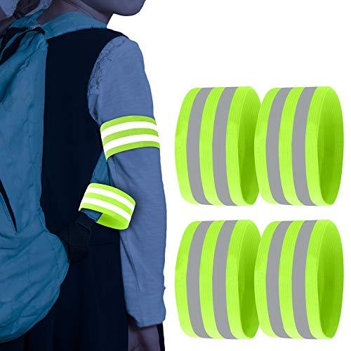 May-Kon Bike® Doppel Reflektorband [2 Längen] Hochwertiges Elastisches Reflektierendes Sicherheitsband Armband mit Klettverschluss zum Joggen Fahrrad Laufen Motorrad Reiten für Erwachsene & Kinder