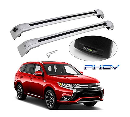 XIAOZHIWEN Coche Cross Bar Techo Top Rack Rack Equipaje Carrier Carrier Fit For Mitsubishi Outlander PHEV 2013-2020 (Color : All Silver)