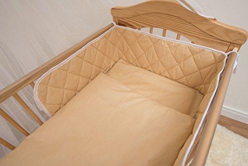 6 pièces Parure de lit bébé avec sécurité Bumper au Tour de lit 120 x 60 cm – Beige