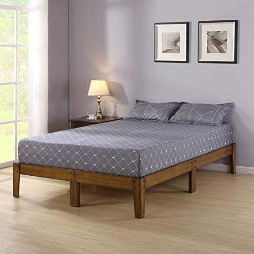 Olee Sleep Smart Wood Platform Bed Frame, Queen, Light Brown