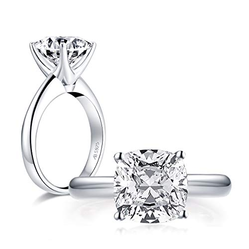 AINUOSHI 3 Carat Cushion Cut Brilliant Solitaire Cubic Zirconia CZ Sterling Silver...