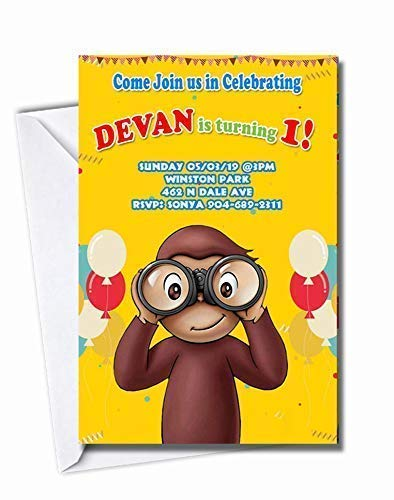 Curious George Personalized Birthday More Invitations In Designs Los Angeles Mall Popular popular