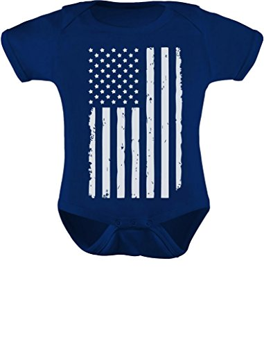 Tstars White Distressed USA Flag Outfit 4th of July American Baby Bodysuit 12M Navy