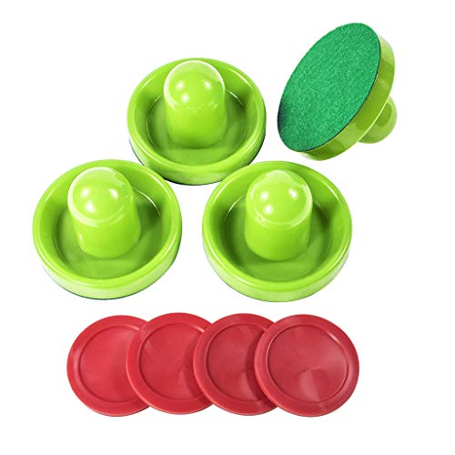 Air Hockey Pushers and Air Hockey Pucks, Hitters and Hockey Goal Handles Paddles Replacement Accessories for Game Tables (Green)