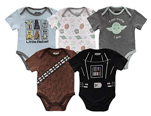 Disney Mono de manga corta para niño de Star Wars para bebé, varios unidades, Multicolor, 12 meses