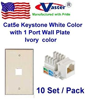 Vastercable Cat5e Punch Down Keystone Jack Green Color Ivory Color with 1port Rj 45 Keystone Wall Plate