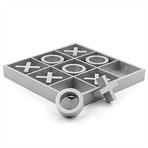 14' Large Elegant Premium Silver Grey Tic Tac Toe Board Game for Adults & Kids | Wooden Puzzle Game...