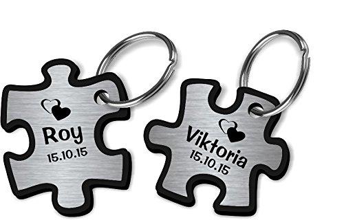 TH-Design Wunderschöner Partner Puzzle Schlüsselanhänger Acryl Silber oder Gold inkl. Gravur Wunschname (Silber)
