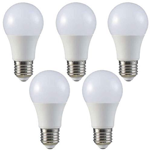 ZONE - Juego de 5 bombillas LED (E27, 9 W, A60, 4000 K, 806 lm, equivale a 60 W, ángulo de emisión de 200°)
