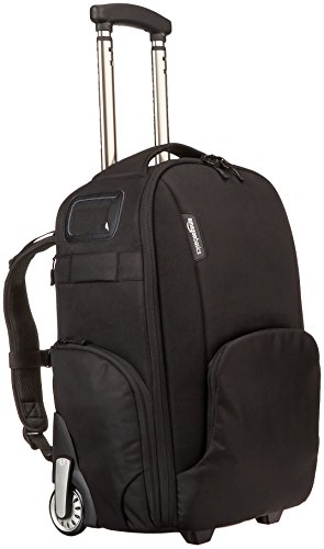 AmazonBasics Convertible Rolling Camera Backpack Bag - 15 x 22 x 10 Inches, Black