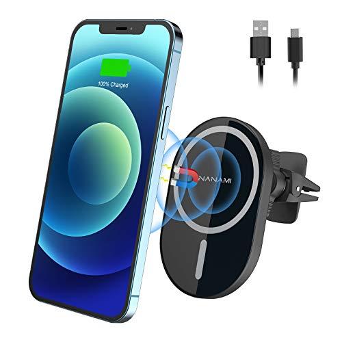 NANAMI Kabelloses Auto Ladegerät,Magnetisch Wireless Charger Qi Handyhalterung Induktive Ladestation Auto,Automatischer Ausrichtung KFZ AutoHalterung kompatibel mit iPhone 12/12 Pro/12 mini/12 Pro Max
