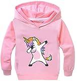 Leslady Fille Unisexe Sweat-Shirt à Capuche Pull Licorne Imprimé Unicorne Coloré Manches Longues Enfant Sportif Sweater(RoseT135, 5XL)