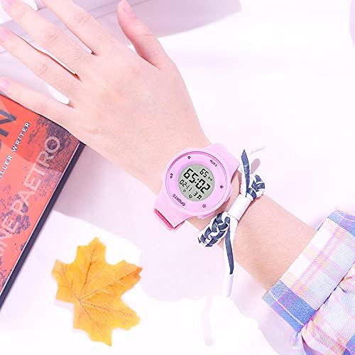 Relojes De Pulsera para Niñas,Reloj electrónico Masculino High School Students Simple Tendencia Mujer Mujer NATIVA A Prueba de Agua Reloj de Alarma multifunción multifunción-Polvo Superficial