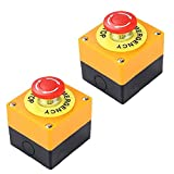 NIDONE botón de Parada de Emergencia de 22 mm de Signo Rojo de Setas Push Switch AC 660V 10A 2pcs Auto Bloqueo Parada de la estación Box