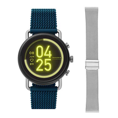 Skagen Touchscreen & Men's 22mm Stainless Steel Mesh Watch Band, Silver-Tone