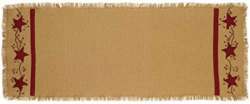 Primitive Star Vine Cotton Burlap 54 Country Table Runner product image