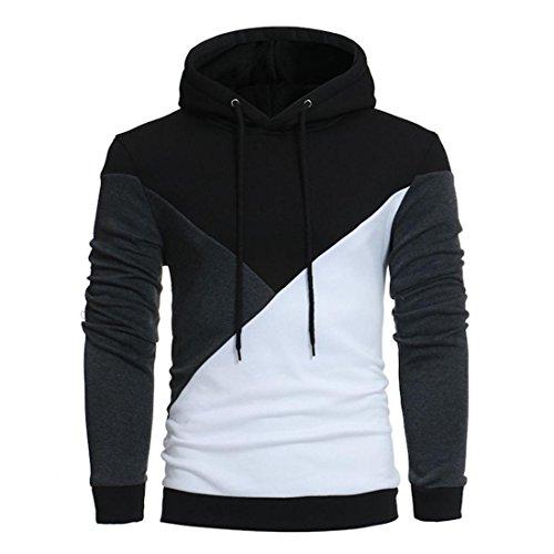 Hoodie Sweatshirt Herren Btruely Herbst Winter Lose Patchwork Pullover Langarm Outwear Bluse (XXXL, Schwarz)