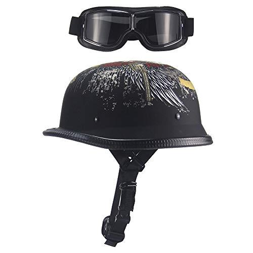 Xwenx Medio casco de motocicleta para adultos, medio casco certificado DOT sin rostro, para hombre y mujer, casco de equitación al aire libre con gafas de sol, M