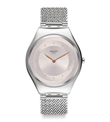 Swatch Unisex Erwachsene Analog Quarz Uhr mit Edelstahl Armband SYXS117M