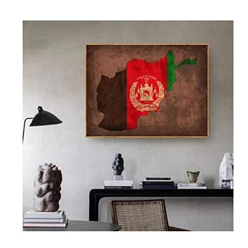Gigoo Land Flagge Karten Poster Afghanistan Flagge Karte Leinwand Druck Wohnkultur Wandkunst Dekor für Wohnzimmer Schlafzimmer Dekor 50x60cm Rahmenlos