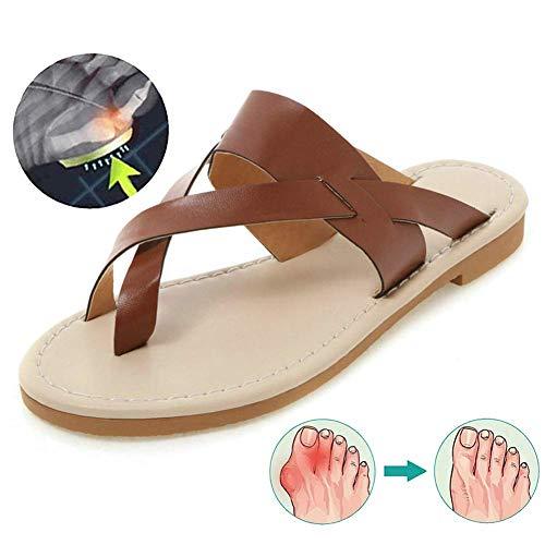 Summer White Beach Casual PU Bunion Splint Zapatillas Planas Dedo Gordo Sandalias de corrección ortopédica Zapatos cuña Clip Toe Vacaciones Chanclas
