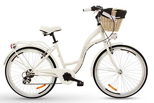 Goetze RGO052606-810408 Mood 26 6B - Bicicleta de Ciudad para Mujer, diseño Retro, 6 Marchas, iluminación LED, Cesta, Color Blanco, tamaño Medium, tamaño de Cuadro 18, tamaño de Rueda 26
