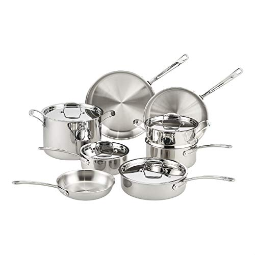 Amazon Commercial Induction Pots & Pans Set, 12 Piece Stainless Steel...