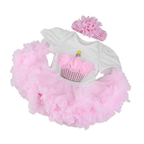 NON MagiDeal Vestido Rosa + Ropa Interior + Diadema de Flores para 22 '' - 23 '' Nebworn Baby Muñecas