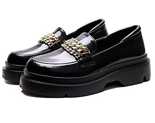 KUKI Tarta gruesa con zapatos gruesos redondos con un pedal de cadena metálica , 11 , US6.5-7 / EU37 / UK4.5-5 / CN37