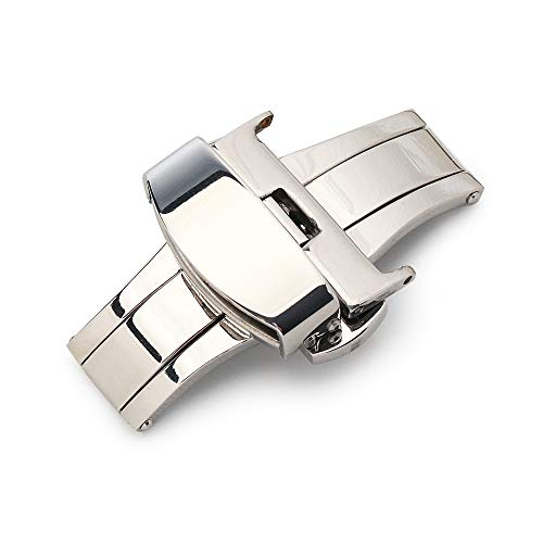 Sulla 18mm Silberne Butterfly Edelstahl 316L Faltschließe für Uhrenarmbänder
