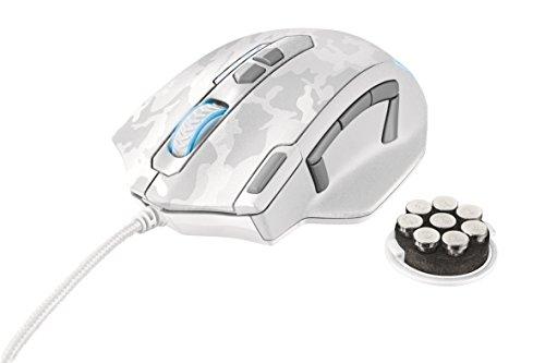 Trust GXT 155W Gaming-Maus (4000 dpi, 11-programmierbare Tasten, On-Board Speicher, anpassbare Gewichte, anpassbare LED-Beleuchtung) weiß camouflage