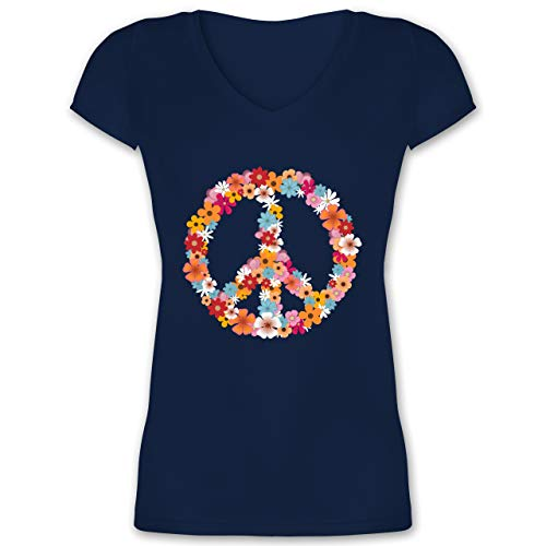 Statement - Peace Flower Power - XS - Dunkelblau - Peace t-Shirt Damen - XO1525 - Damen T-Shirt mit V-Ausschnitt