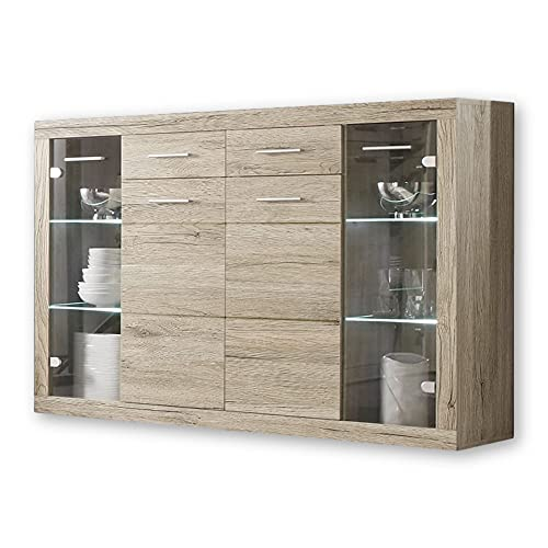Stella Trading CAN CAN Highboard mit LED-Beleuchtung in Eiche Sonoma Optik - Moderner...